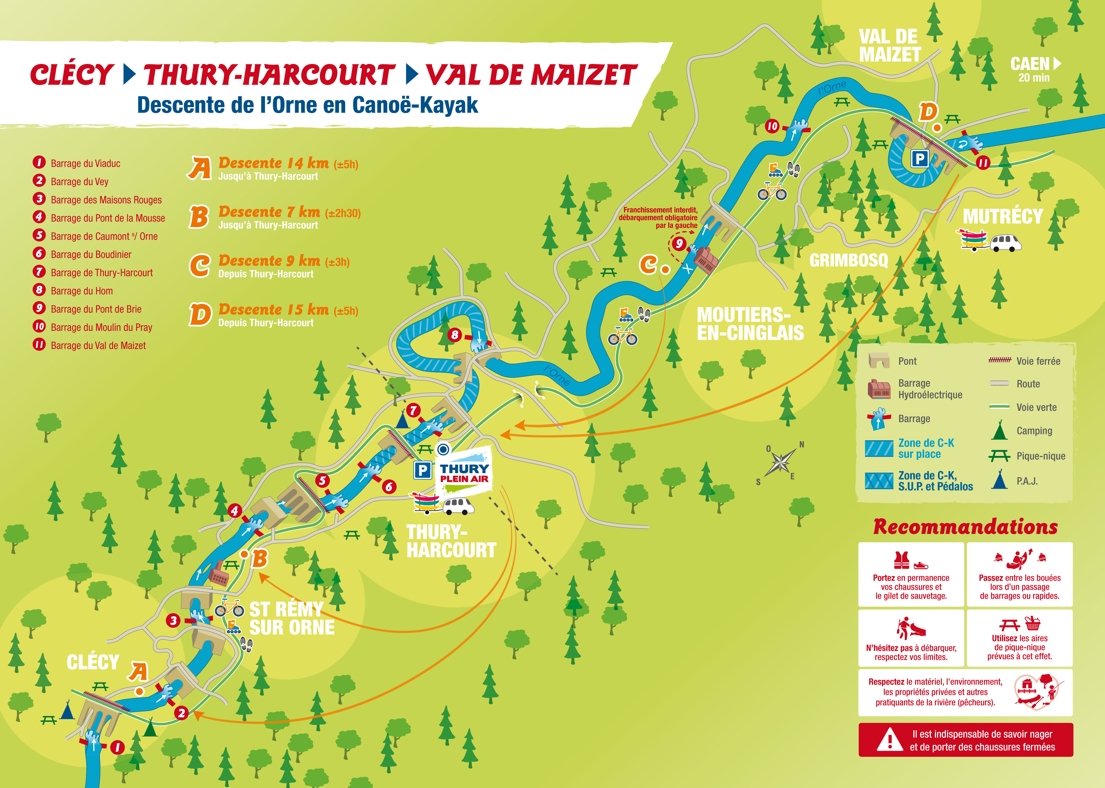 Plan descente canoë kayak Clécy Thury Harcourt Val de Maizet
